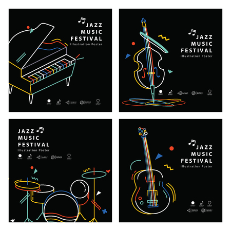Jazz music banner poster square 4 musical instrument illustration vector. Music concept. Illustration