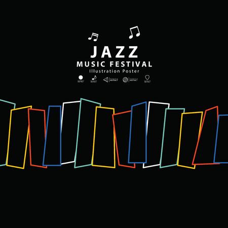 Jazz music banner poster square illustration vector. Music concept. Ilustração