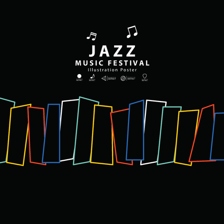 Jazz music banner poster square illustration vector. Music concept. Illustration