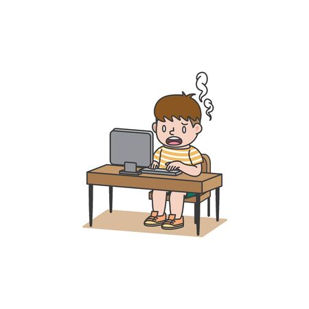The student boy exhausted or uses computer too much  or got the problem illustration vector on white background. Education and study concept. Illustration