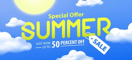 Summer sale 50 percent off promotion website banner heading design on graphic blue sky & cloud background vector for banner or poster. Sale and Discounts Concept. Stock Illustratie