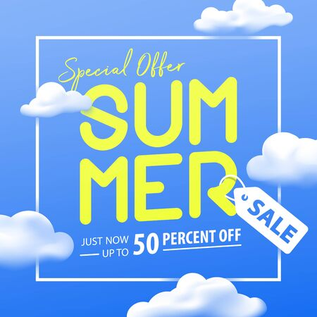 Summer sale 50 percent off promotion square website banner heading design on graphic blue sky & cloud background vector for banner or poster. Sale and Discounts Concept.