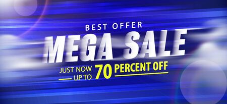 Mega sale 70 percent off promotion website banner heading design on graphic blue background vector for banner or poster. Sale and Discounts Concept.