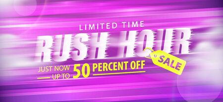 Rush hour sale 50 percent off promotion website banner heading design on graphic purple background vector for banner or poster. Sale and Discounts Concept. Stock Illustratie