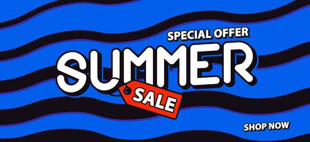 Summer sale 50 percent off promotion square website banner heading design on graphic blue & black wave background vector for banner or poster. Sale and Discounts Concept.