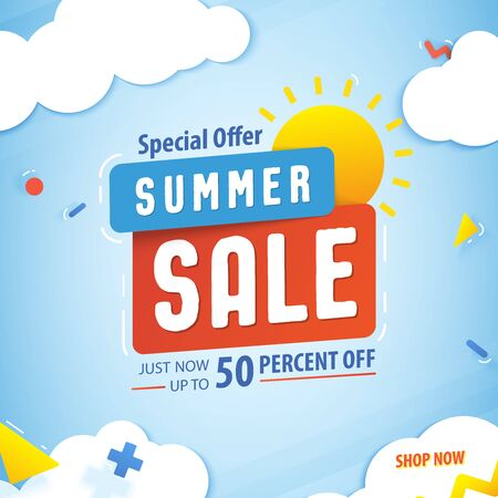 Summer sale 50 percent off promotion square website banner heading design on graphic blue sky & cloud fun background vector for banner or poster. Sale and Discounts Concept. Stock Illustratie