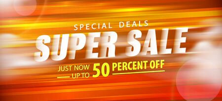 Super sale 50 percent off promotion website banner heading design on graphic orange background vector for banner or poster. Sale and Discounts Concept. Stock Illustratie