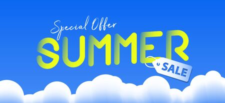 Summer sale promotion website banner heading design on graphic blue sky and cloud background vector for banner or poster. Sale and Discounts Concept. Stock Illustratie