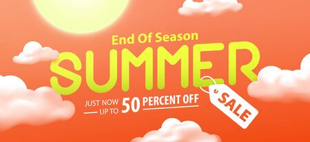 End of season summer sale 50 percent off promotion website banner heading design on graphic red sky background vector for banner or poster. Sale and Discounts Concept.
