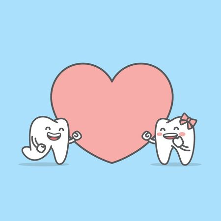 Tooth boy ran into tooth girl in front of a big heart illustration character vector design on blue background. Dental concept.