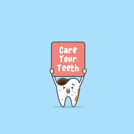 Sad Tooth boy crying and holding the care your teeth sign illustration cartoon character vector design on blue background. Dental concept.