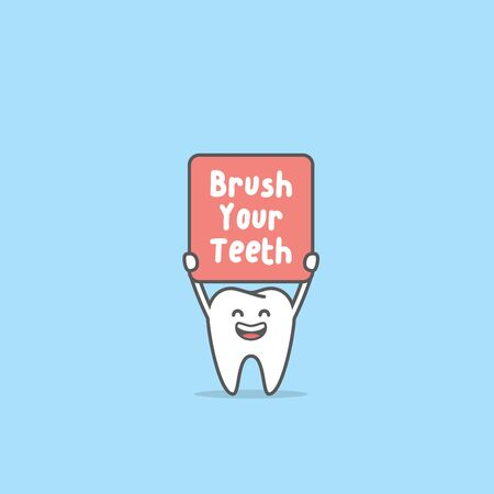 Happy Tooth boy smiling and holding the brush your teeth sign illustration cartoon character vector design on blue background. Dental concept.