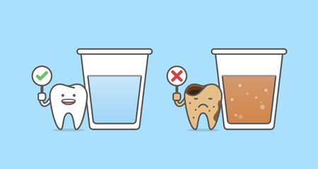 Dental cartoon of a healthy tooth with glass of water and a caries tooth with glass of soda drink illustration cartoon character vector design on blue background.  Dental care concept. Ilustracja