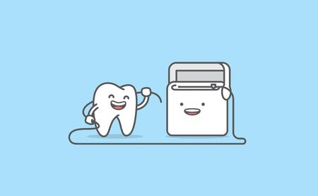 Dental cartoon of a white tooth cleaning with dental floss illustration cartoon character vector design on blue background.  Dental care concept. Ilustracja