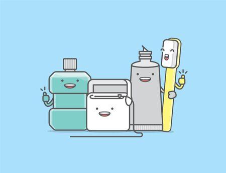 Dental cartoon of a cleaner gang mouthwash, dental floss, toothpaste, toothbrush, illustration cartoon character vector design on blue background.  Dental care concept.