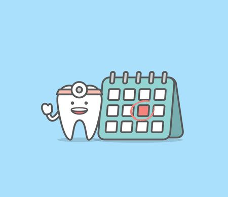 Dental cartoon of a tooth doctor and calendar illustration cartoon character vector design on blue background.  Dental care concept.