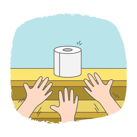 three hands struggling for toilet paper on shelves in supermarket because it does not enough on demand of people in crisis situation illustration vector.