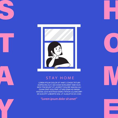 The woman stay home at the window to avoid covid-19 crisis on blue background illustration vector banner, stay home concept