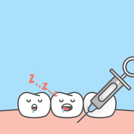 Blank banner Dental anesthesia,teeth cartoon sleeping when a syringe injecting to gums illustration cartoon character vector design on blue background.  Dental care concept.