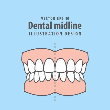 Dental midline teeth illustration vector design on blue background. Dental care concept.