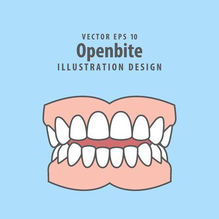 Dental openbite teeth illustration vector design on blue background. Dental care concept.