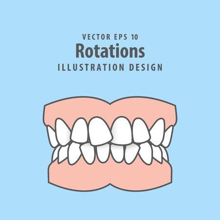 Dental rotations teeth illustration vector design on blue background. Dental care concept.