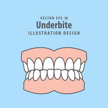 Dental underbite teeth illustration vector design on blue background. Dental care concept.