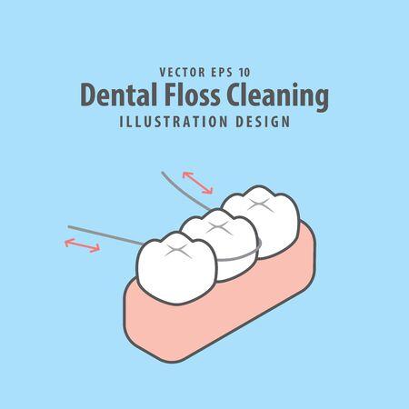 Dental floss cleaning of teeth illustration vector design on blue background. Dental care concept.