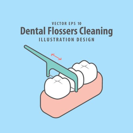 Dental flossers cleaning of teeth illustration vector design on blue background. Dental care concept.