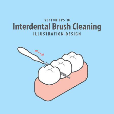 Dental interdental brush cleaning of teeth illustration vector design on blue background. Dental care concept. Ilustracja