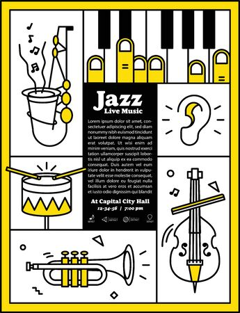 Jazz live music banner poster with ear and instrument saxophone, drum, piano, trumpet, double bass illustration vector. Jazz music concept. Ilustração