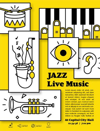 Jazz live music banner poster with ear, eye and instrument saxophone, drum, piano, trumpet, double bass illustration vector. it's like a human face. Jazz music concept.