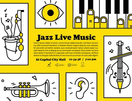 Jazz live music banner poster with ear, eye and instrument saxophone, piano, trumpet, double bass illustration vector on yellow background. Jazz music concept.