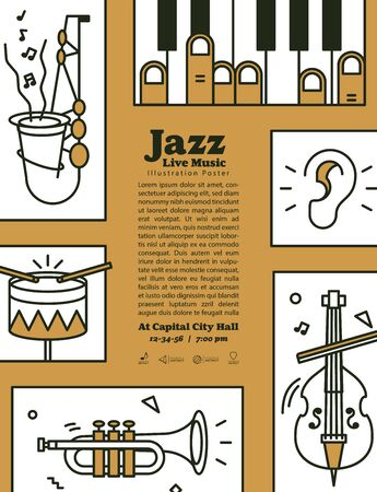 Jazz live music banner poster with ear and instrument saxophone, drum, piano, trumpet, double bass illustration vector on brown background. Jazz music concept.
