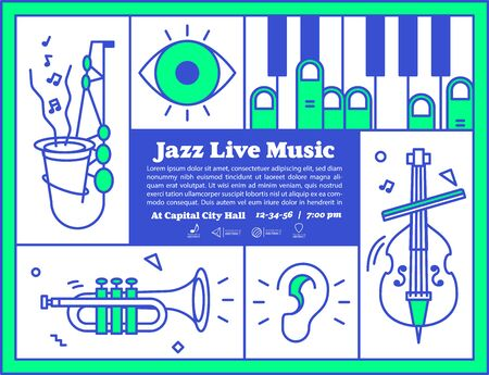 Jazz live music banner poster with ear, eye and instrument saxophone, piano, trumpet, double bass illustration vector on green and blue color. Jazz music concept.