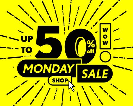 yellow tag monday sale 50 percent off promotion online shop website banner heading design on graphic purple background vector for banner or poster. Sale and Discounts Concept. Ilustração