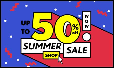 Blue tag Summer sale 50 percent off promotion online shop website banner heading design on graphic purple background vector for banner or poster. Sale and Discounts Concept.