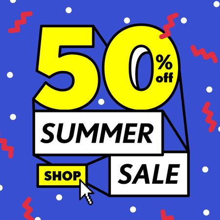 Blue tag Summer sale 50 percent off promotion online shop website square banner heading design on graphic purple background vector for banner or poster. Sale and Discounts Concept.