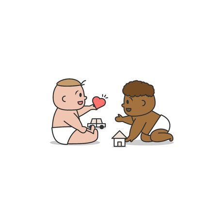 White and black baby play together with innocencea and love  illustration cartoon vector design on white background. Racism concept.