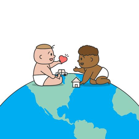 White and black baby play together with innocencea and love on the globe illustration cartoon vector design on white background. Racism concept.