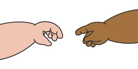 The hands of white baby and black baby that posed like the picture was called the creation of adam illustration cartoon vector design on white background. Racism concept.