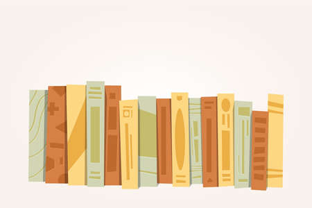 A front side stack of books, horizontal pile of books illustration cartoon vector Illustration