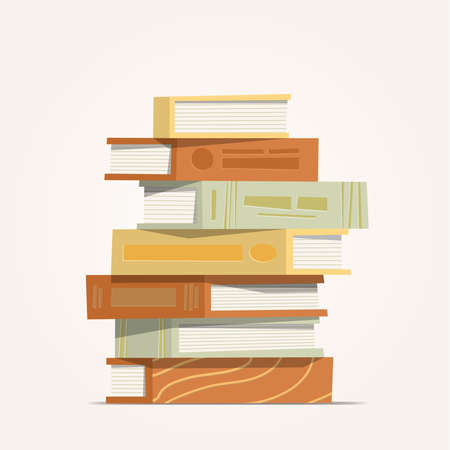 A front side stack of books, Pile of books illustration cartoon vector 向量圖像