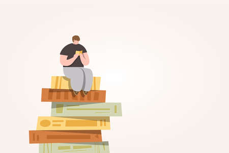 A man sitting and reading a book on stack of books, Pile of books illustration cartoon vector Ilustração
