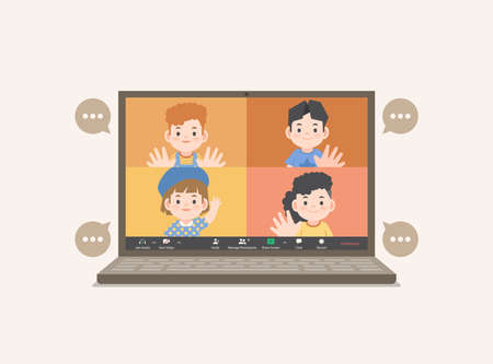 a laptop desktop children video call social online group to connect together with friends from distancing place illustration vector.