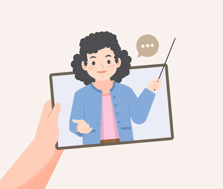 a hand holding tablet see teacher teaching video call online to learning from distancing place, illustration vector. Education Concept.