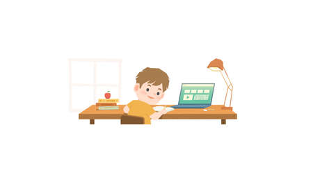 The boy stay home and studying at home, writing and learning online internet network with laptop computer, sitting at a desk and a book pile illustration vector on white background. Education concept.
