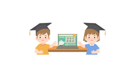 A boy and a girl wearing graduation hat standing in front the online class in the laptop illustration vector on white background. Education concept