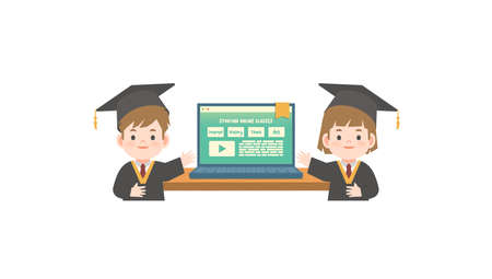 A boy and a girl in graduation gown standing in front the online class in the laptop illustration vector on white background. Education concept