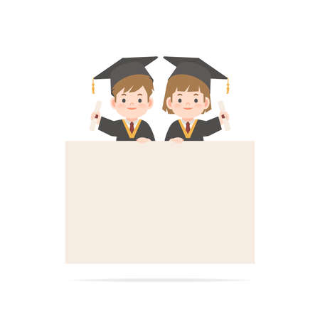 A boy and a girl in graduation gown stand on the blank banner illustration vector blank banner sign frame on white background. Education concept Ilustrace